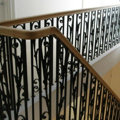 Metal Staircases with Wooden Hand rails