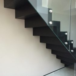 Black Wood and Glass Staircase