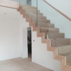 Architectural Basement Staircase Wood and Glass